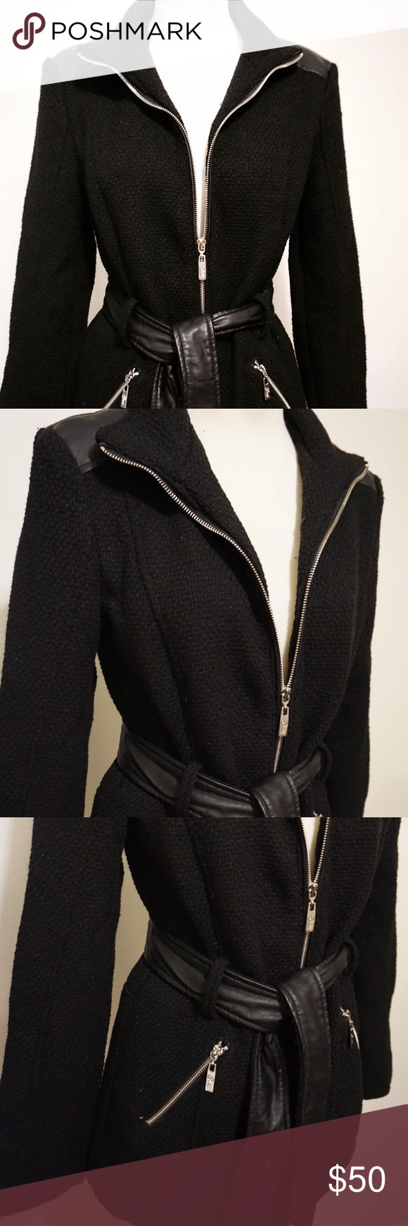 🌈NWT! Black boucle coat by Guess! This trend-forward boucle coat will take you through the cooler season in style. Faux-leather panelling makes a mega modern statement.  Boucle woven coat. Stand collar. Long sleeves.  Faux-leather shoulder panels. Two zipper pockets at front. Detachable waist belt with faux-leather trim.Silver-tone zipper closure. Lined.Shell: 59% Polyester, 41% Wool. Lining: 100% Polyester. Contrast: 100% Polyurethane. NWT! Guess Jackets & Coats Trench Coats
