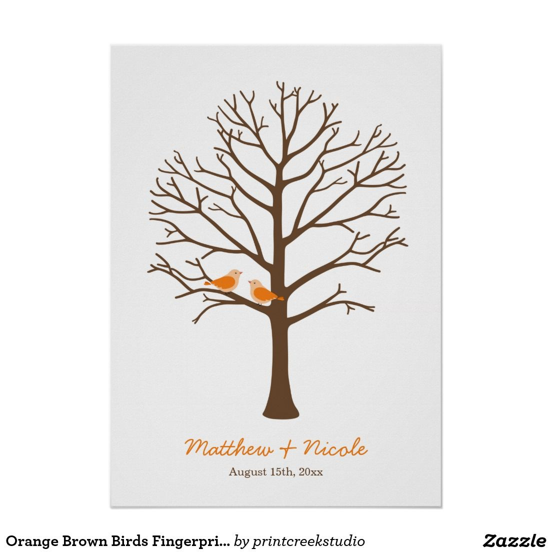 Orange Brown Birds Fingerprint Tree Wedding Poster | Pinterest ...