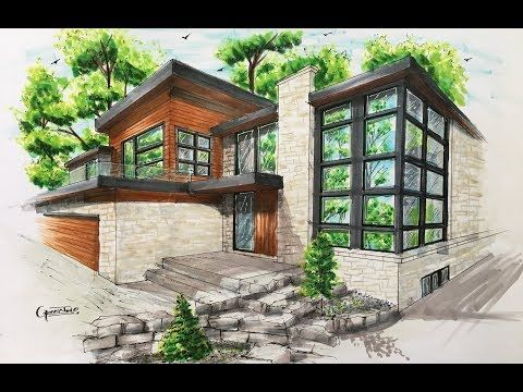 How to draw an Architectural sketching of house with markers o hacer un Bosquejo arquitectónico