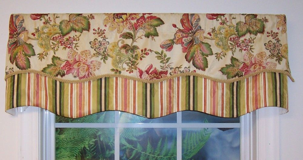 Luxuriance Double Scallop Valance Closing Out Floral Stripe