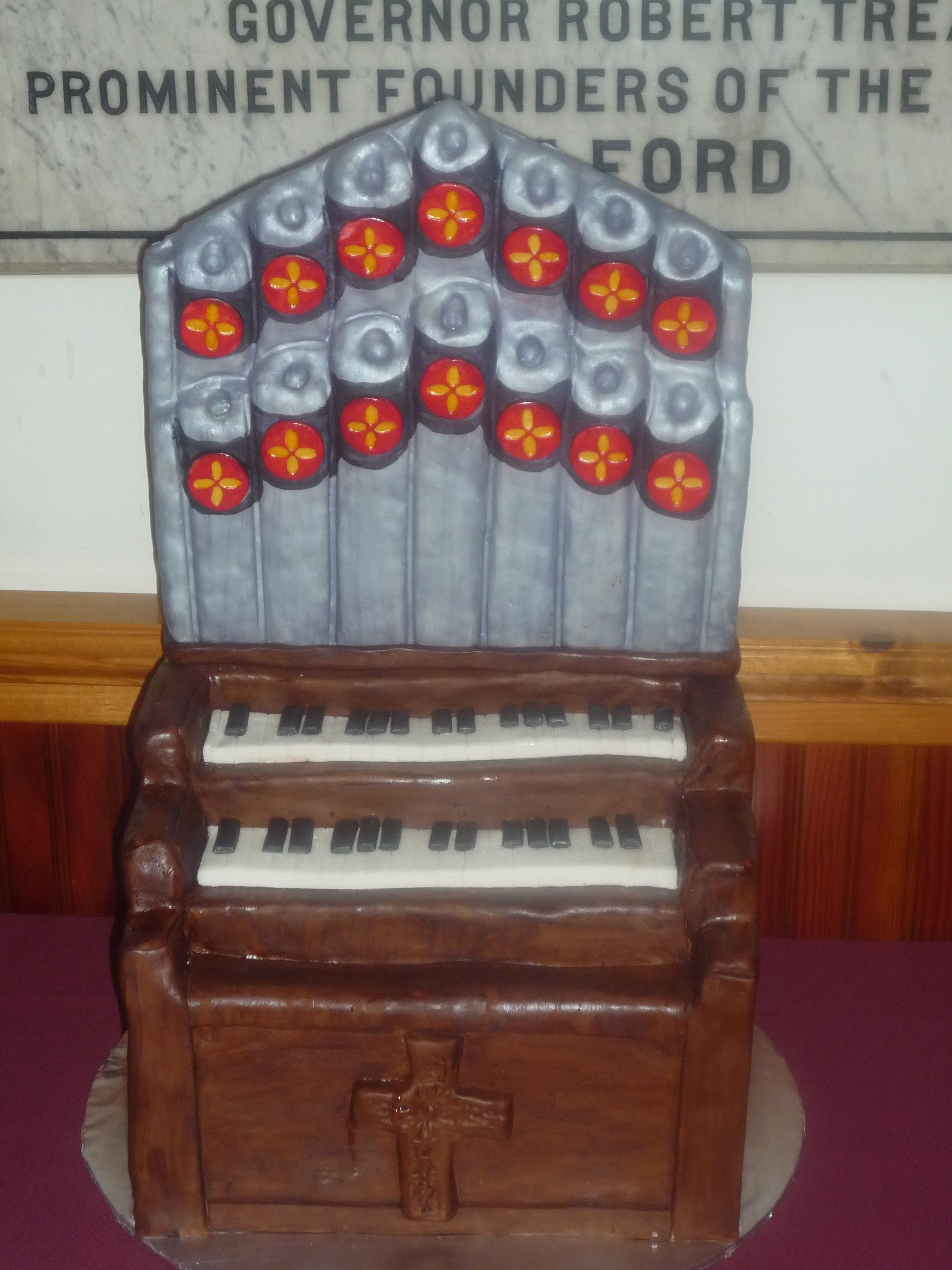 Pipe organ cake for a piano and organ recital. Rice Krispie pipes, decorated with fondant.