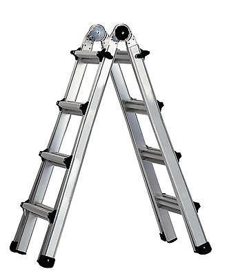 Multi Position Ladder System 17ft Folding Aluminum 5in1 Indoor Outdoor Portable Cosco Step Ladders Ladder