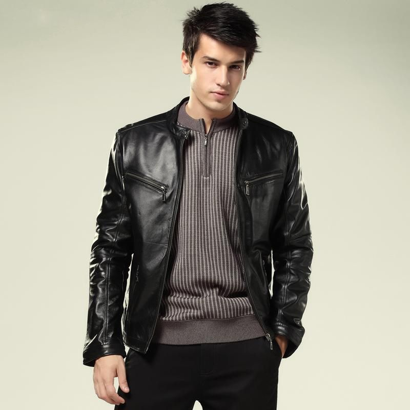 new fashion mens genuine leather jacket real leather jackets for ...