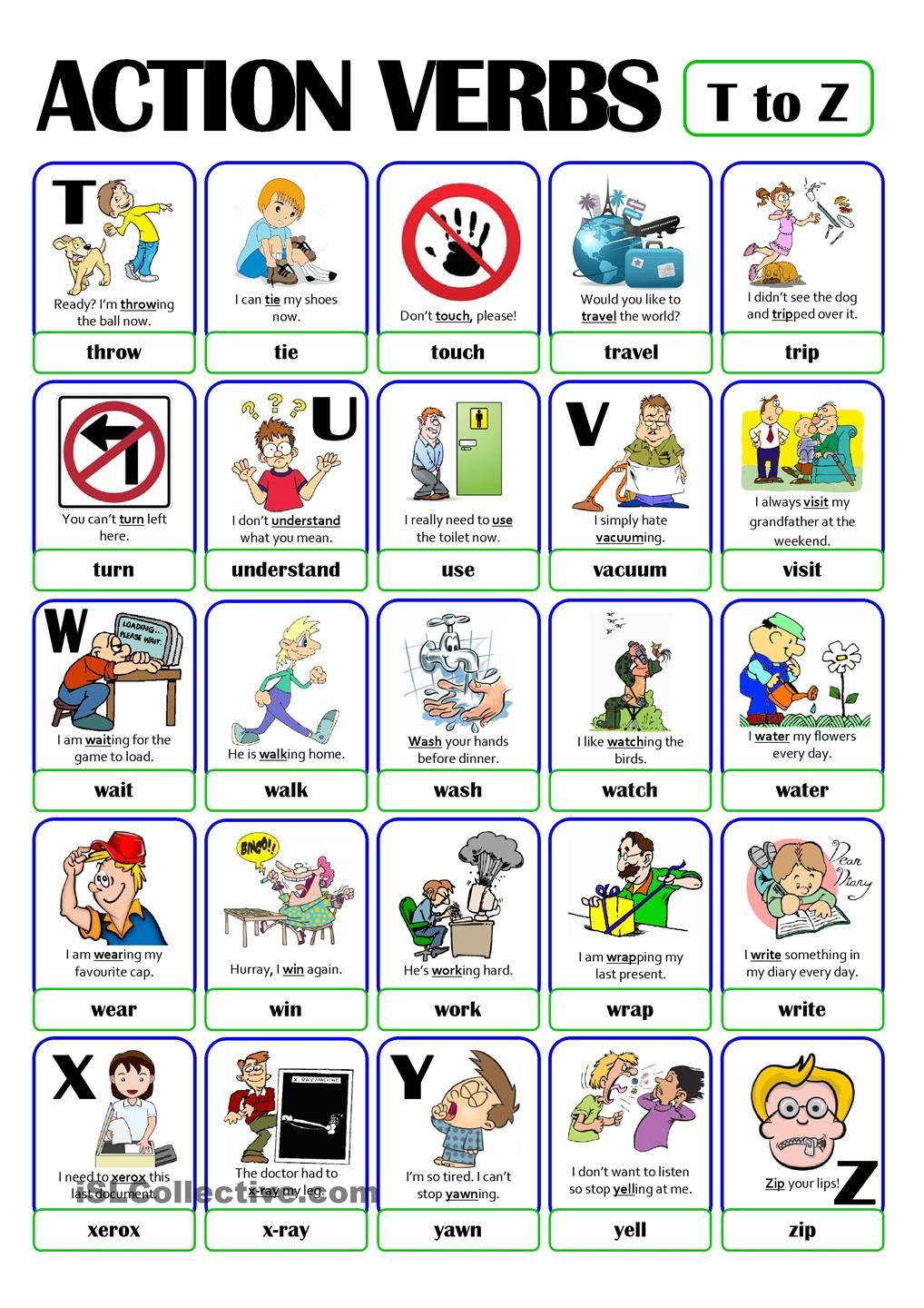 PICTIONARY - ACTION VERB SET (5) - from T to Z | 5th | Pinterest ...