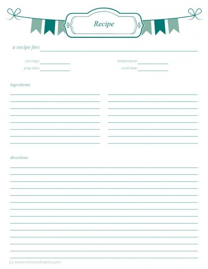 free printable recipe template