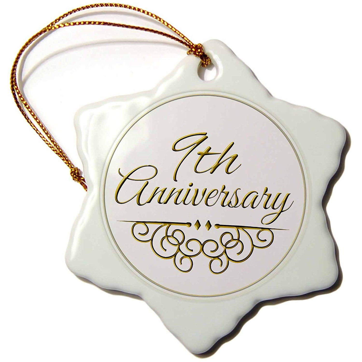 3dRose orn_154451_1 9Th Anniversary Gift Gold Text For