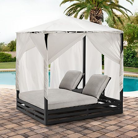 ARHAUS OUTDOOR PINTEREST CONTEST Stuart Outdoor Double Chaise with Canopy and Cushions in Dock Dove | : chaise lounge with canopy - Sectionals, Sofas & Couches
