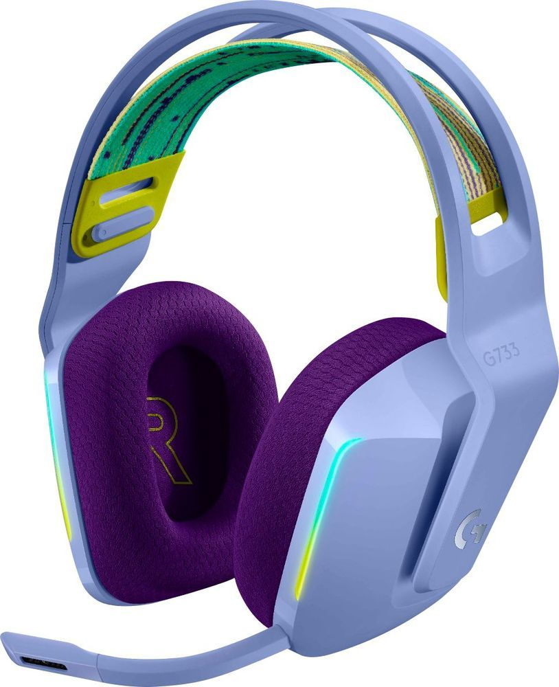 Logitech G733 Lightspeed Wireless Dts Headphone X V2 0 Gaming Headset For Pc Mac And Playstation 4 Lilac 981 000889 Best Buy In 2020 Gaming Headset Logitech Headset