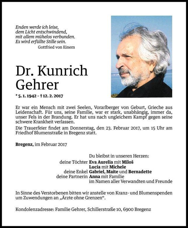 Schön Todesanzeige Für Kunrich Gehrer Vom 17.02.2017   VN Todesanzeigen