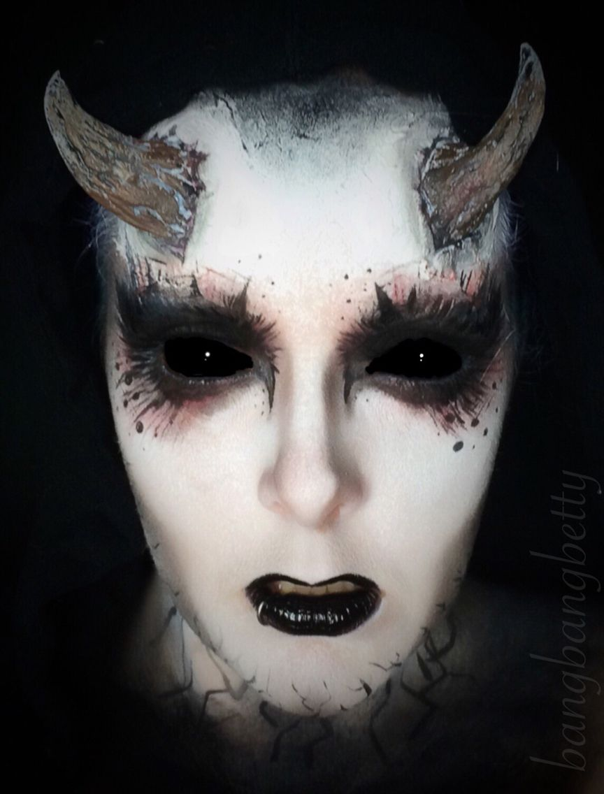 halloween demon makeup! halloween, creepy makeup, makeup art, black