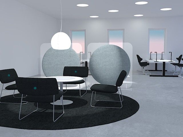 4 Work Solutions - Image - Wobedo Design - Multiple Floating Sun Floor Standing Acoustic Office Screen in Office Render