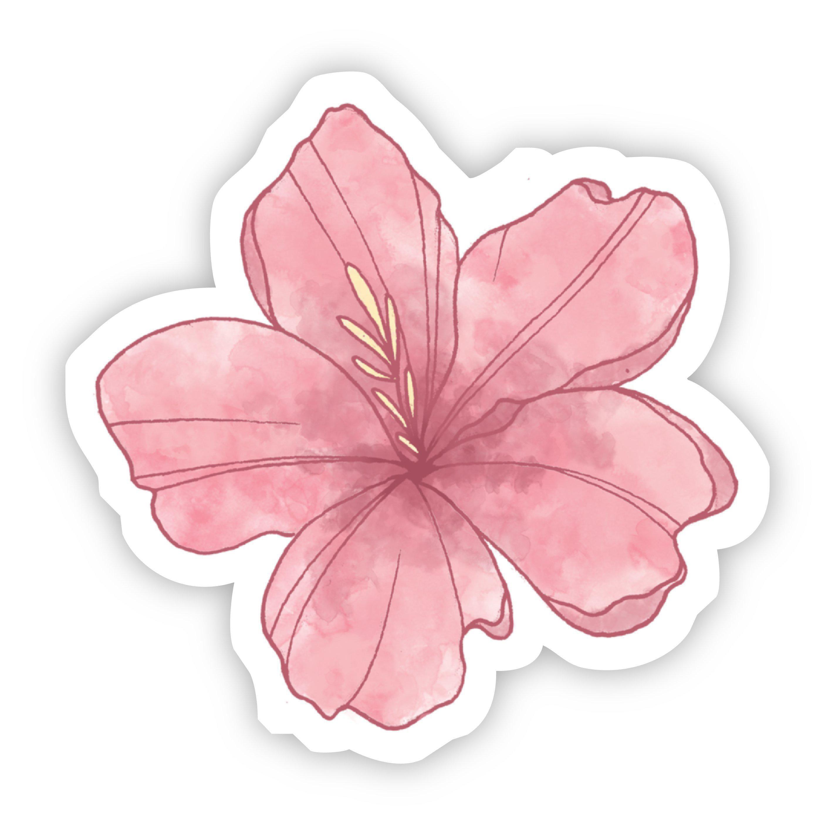 Pink Flower Watercolor Sticker | Waterproof Vinyl Sticker | 3 x 2.95 inches | Big Moods