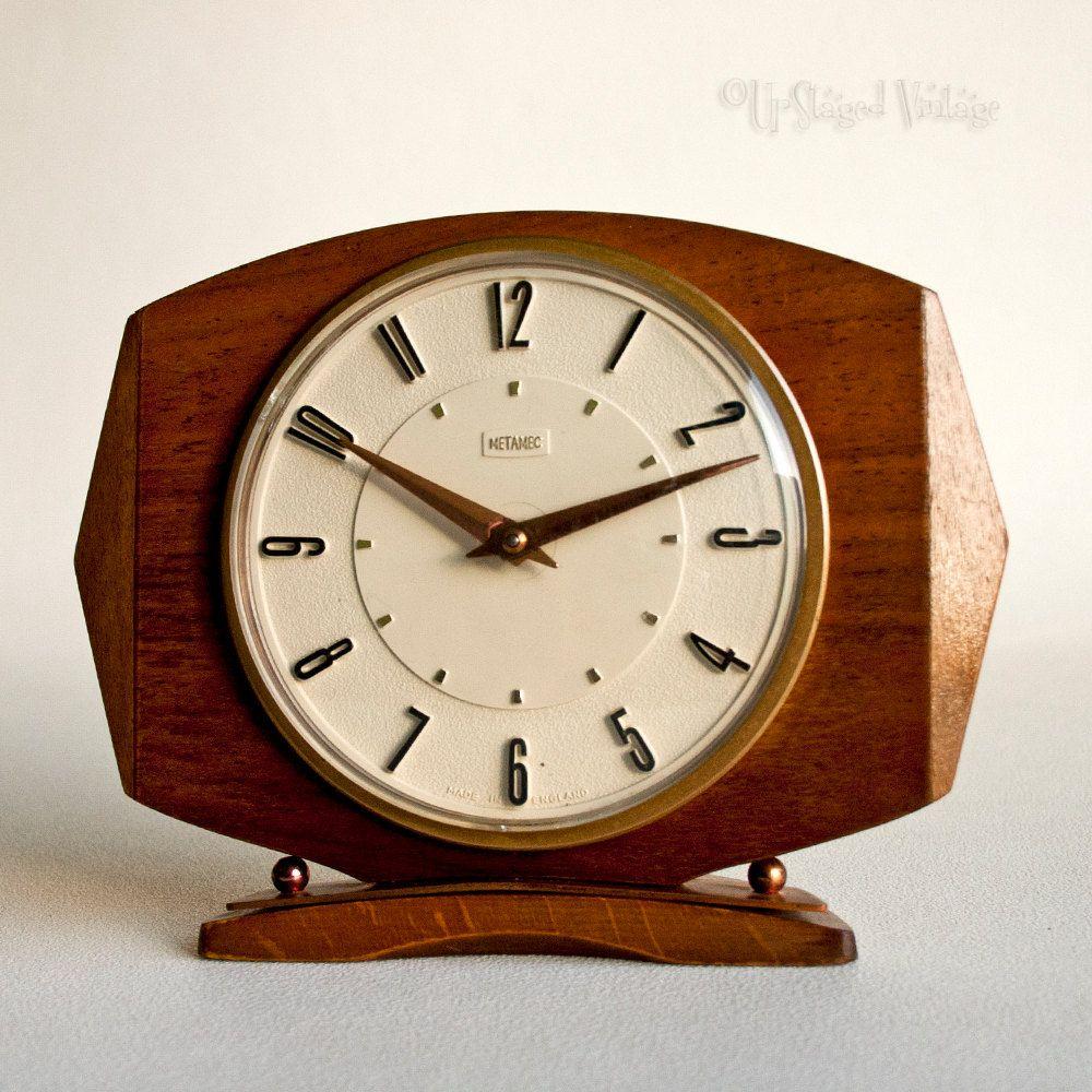 Vintage Retro METAMEC Teak Clockwork Mantle Clock Made in England by ...