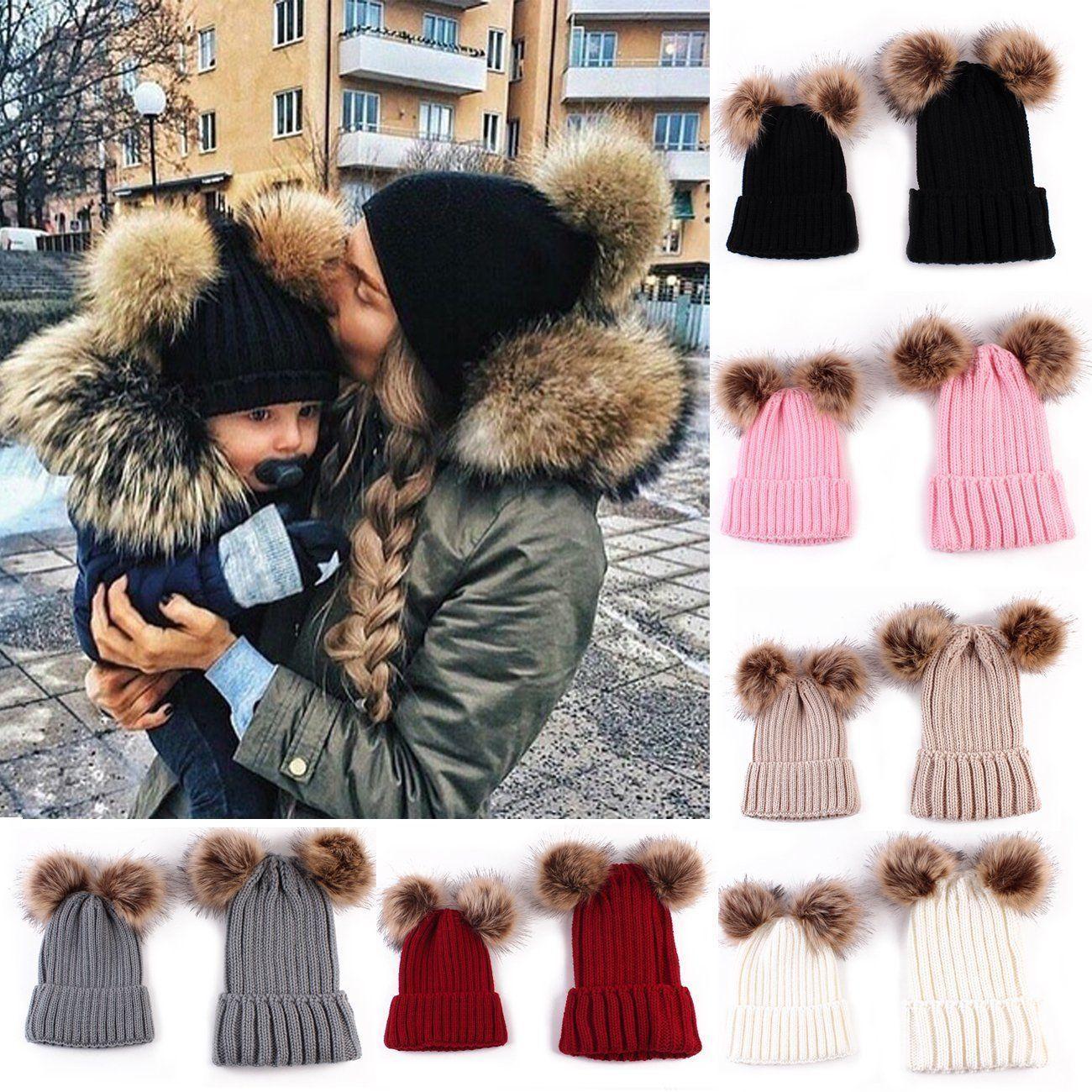 bb96f8212fc 2Pcs Women Mother Kids Child Warm Winter Knit Beanie Fur Pom Hat Crochet  Ski Cap