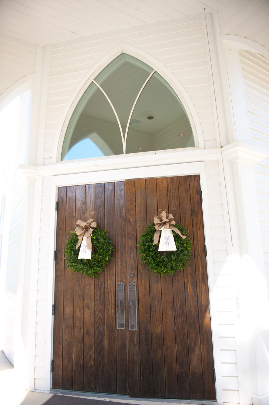 Wedding Day Church Doors Monogram Wreath Fairhope Alabama