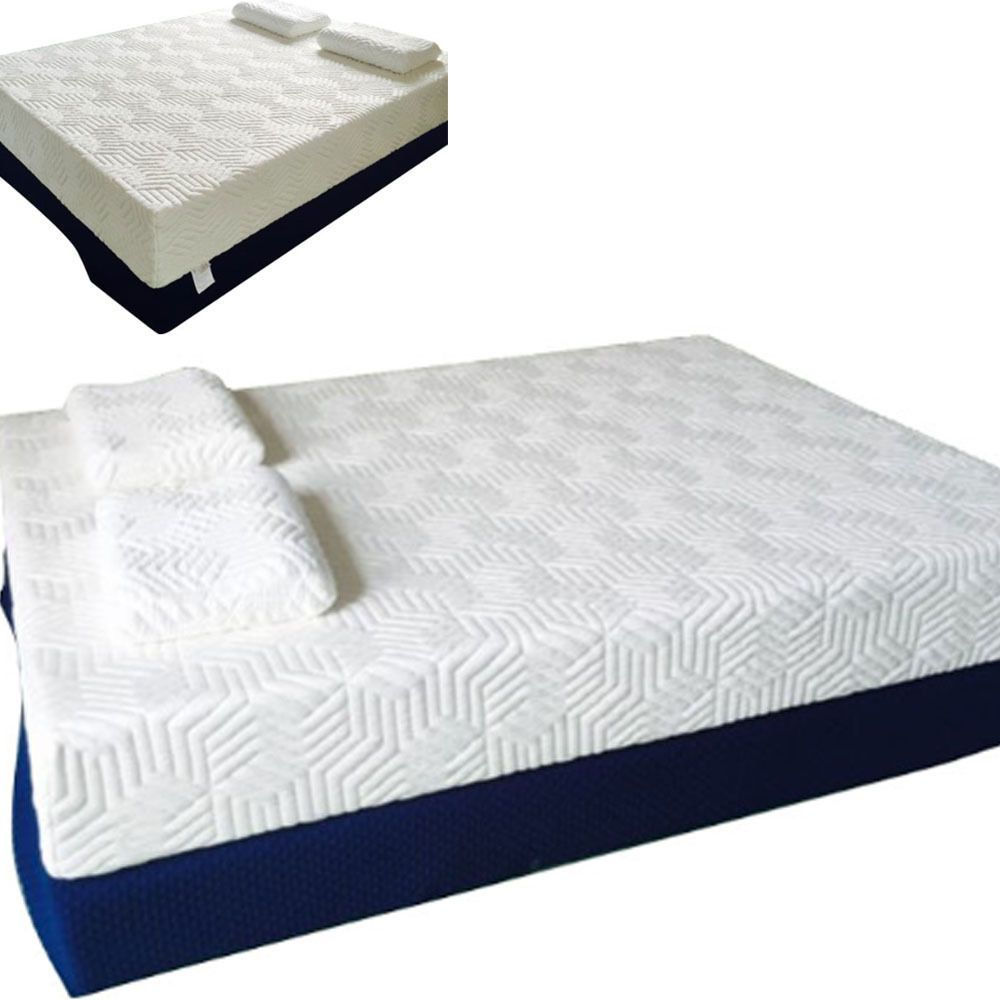 14 Inch King Size Cool Medium-firm Memory Foam Mattress  2 Pillows White