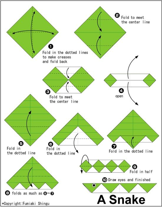 How to make an origami snake easy