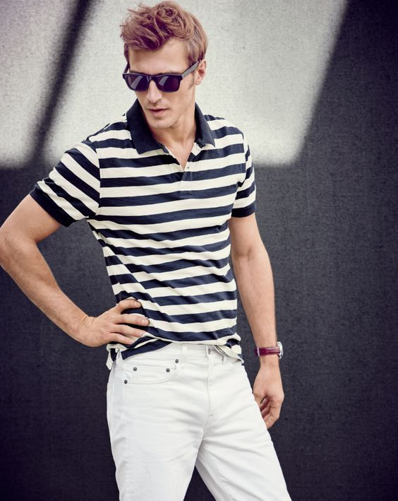 f2901b0debc7 J.Crew stands by classic style with a striped polo shirt and white denim  jeans.