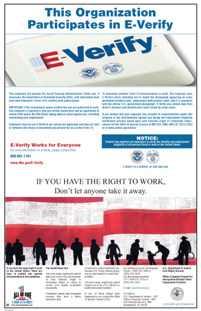 e verify poster and right to work
