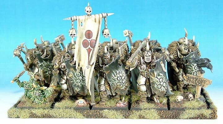 Chaos Warriors of Nurgle, ranked up so painted for older versions of the rules.