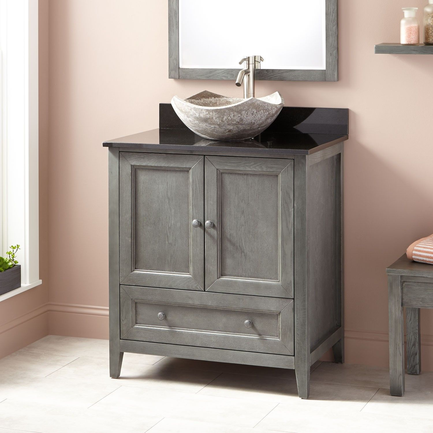 30 Kipley Vessel Sink Vanity Gray Wash Vessel Sink Vanity Small Bathroom Sinks Small Bathroom Sink Cabinet