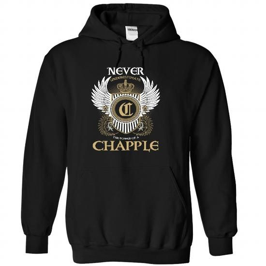 CHAPPLE - Never Underestimated - #hostess gift #personalized gift. GET IT NOW => https://www.sunfrog.com/Names/CHAPPLE--Never-Underestimated-sefhbdcohj-Black-47148326-Hoodie.html?68278