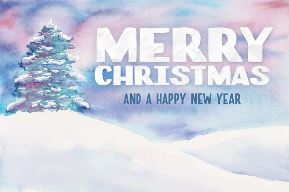 Watercolor Christmas Card Template 2 by Design Panoply on @creativemarket
