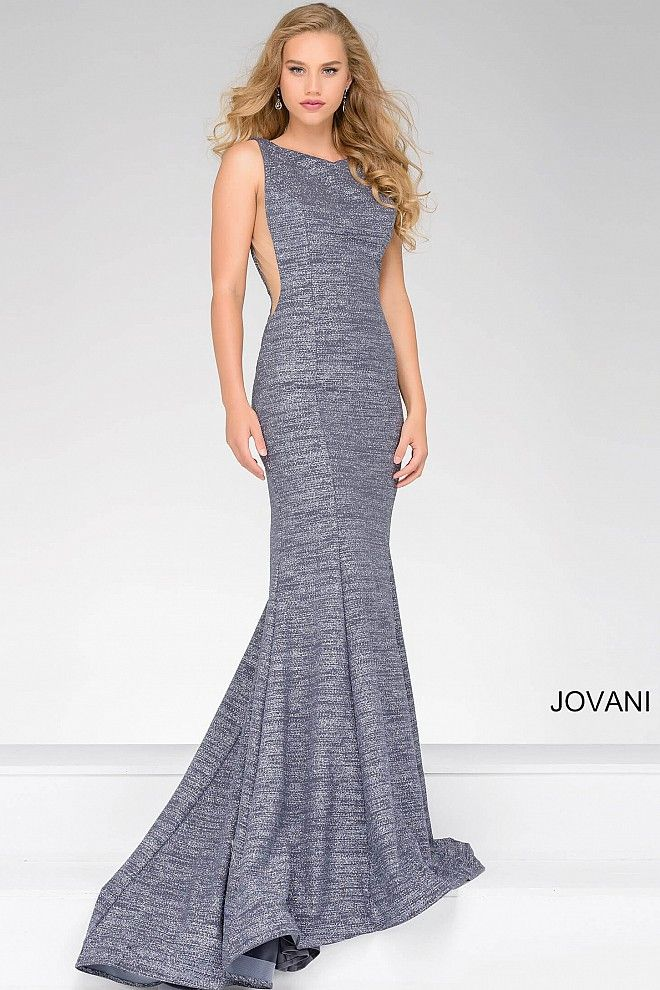Beautiful gunmetal sleeveless floor length form fitting glitter jersey prom  dress with high neckline and an open back a7af2441036d
