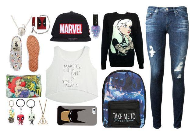 """""""the outfit of a fangirl"""" by howtobehipsterish ❤ liked on Polyvore featuring Disney, Casetify, Vans, AG Adriano Goldschmied and fangirl"""