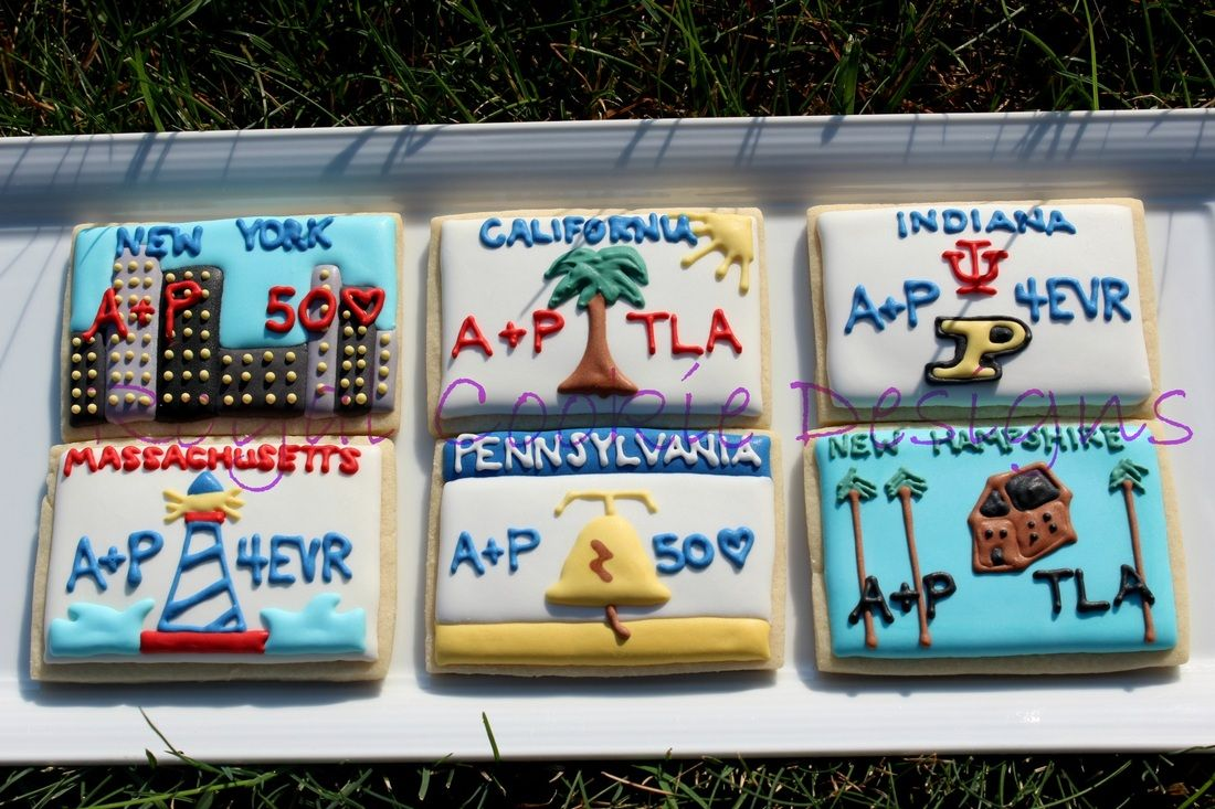 Decoration ideas for 50th wedding anniversary celebration  Customized license plate cookie favors for a th wedding