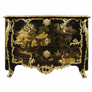 a very fine and rare gilt bronze mounted chinese black and gilt lacquer commode stamped delorme. Black Bedroom Furniture Sets. Home Design Ideas
