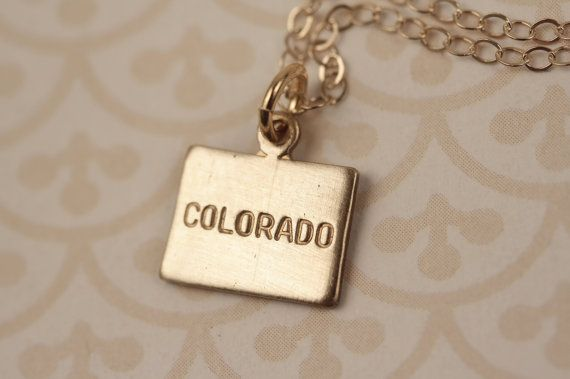 Small Gold Colorado State Charm Necklace Miniature by FreshyFig