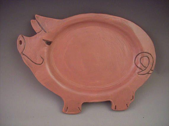 Happy Pottery Pig Platter Pink Ceramic Pig Handmade Serving