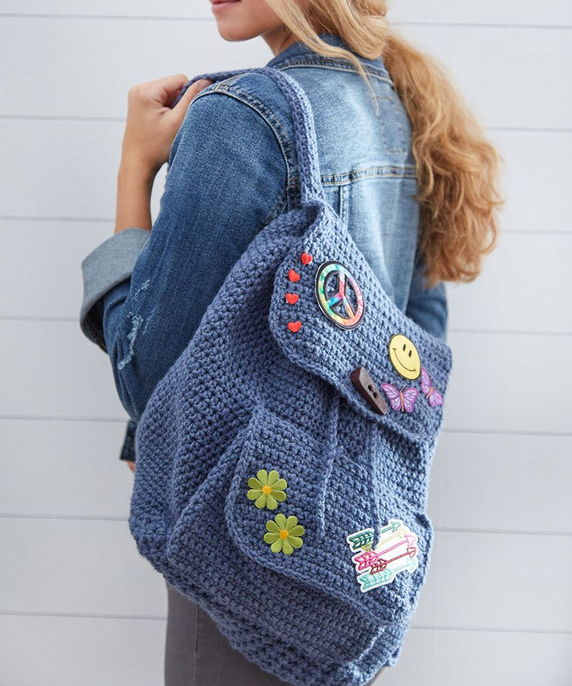 Patch Backpack | Red Heart | Knitting and Crochet bags | Pinterest ...