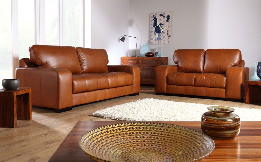 Buffalo Aniline Leather Sofas In Tan From Furniture Choice 999 99