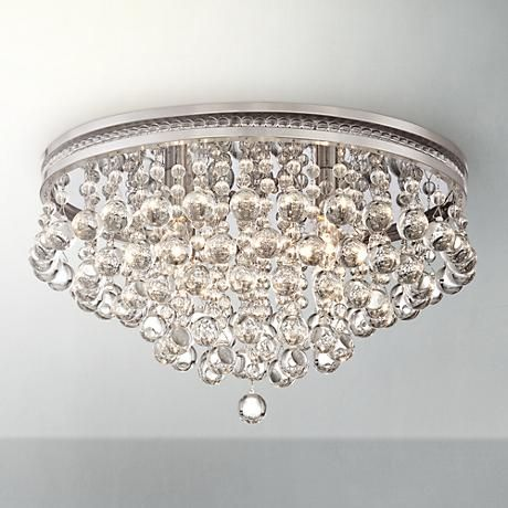 "Close To Ceiling Lights Delectable Regina Brushed Nickel 19 14"" Wide Crystal Ceiling Light  #7W102 Design Ideas"