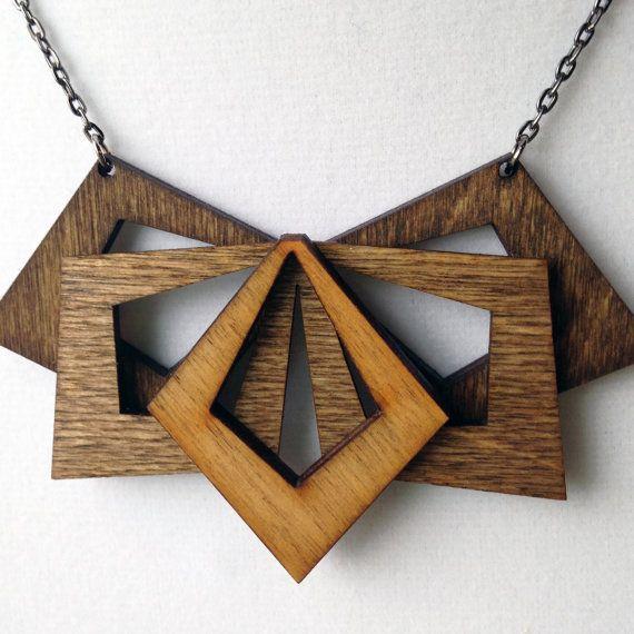 Laser-cut orange wood missile pendant Handmade robot necklace