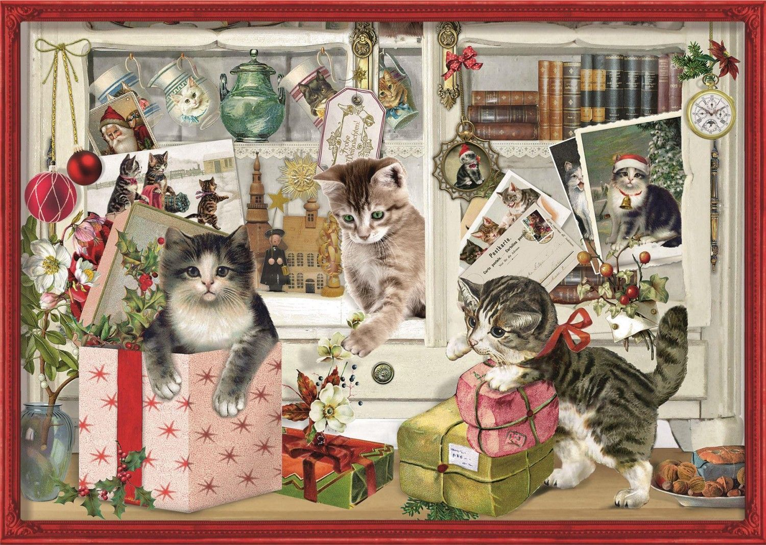 Deluxe Traditional A4 Christmas Advent Calendar Playful Christmas Kittens Christmas Advent Calendar Christmas Advent Christmas Kitten