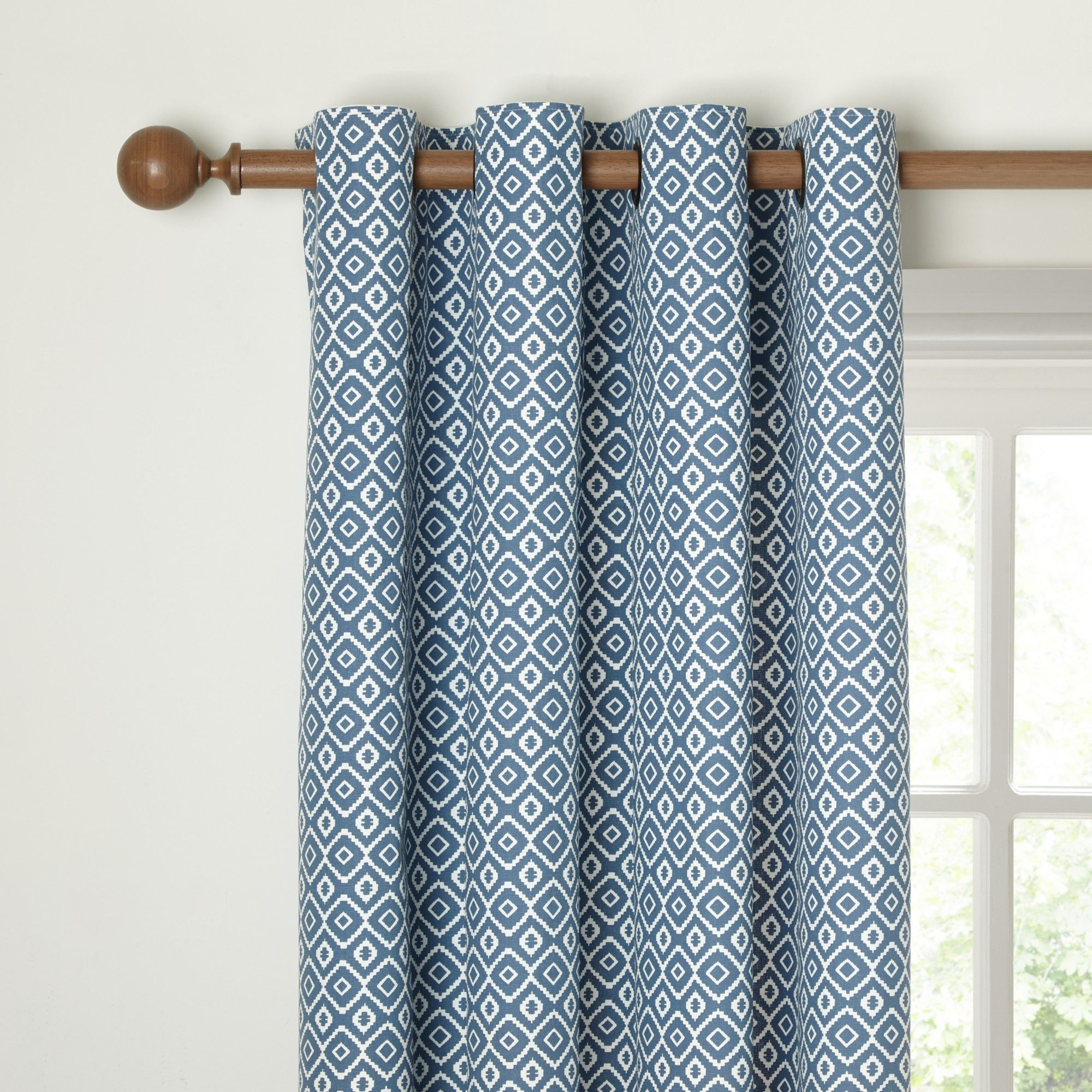 John Lewis Nazca Lined Eyelet Curtains, Indian Blue | Bedrooms ...