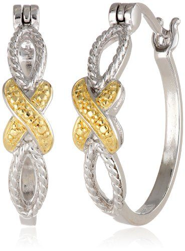 18k Yellow Gold Plated Sterling Silver Two-Tone Crossover Hoop Earrings... Welcome to Cupids Magic Potion Boutique for personal and intimate gifts. Visit our category on Jewelry http://www.cupidsmagicpotion.com/category/jewelry/