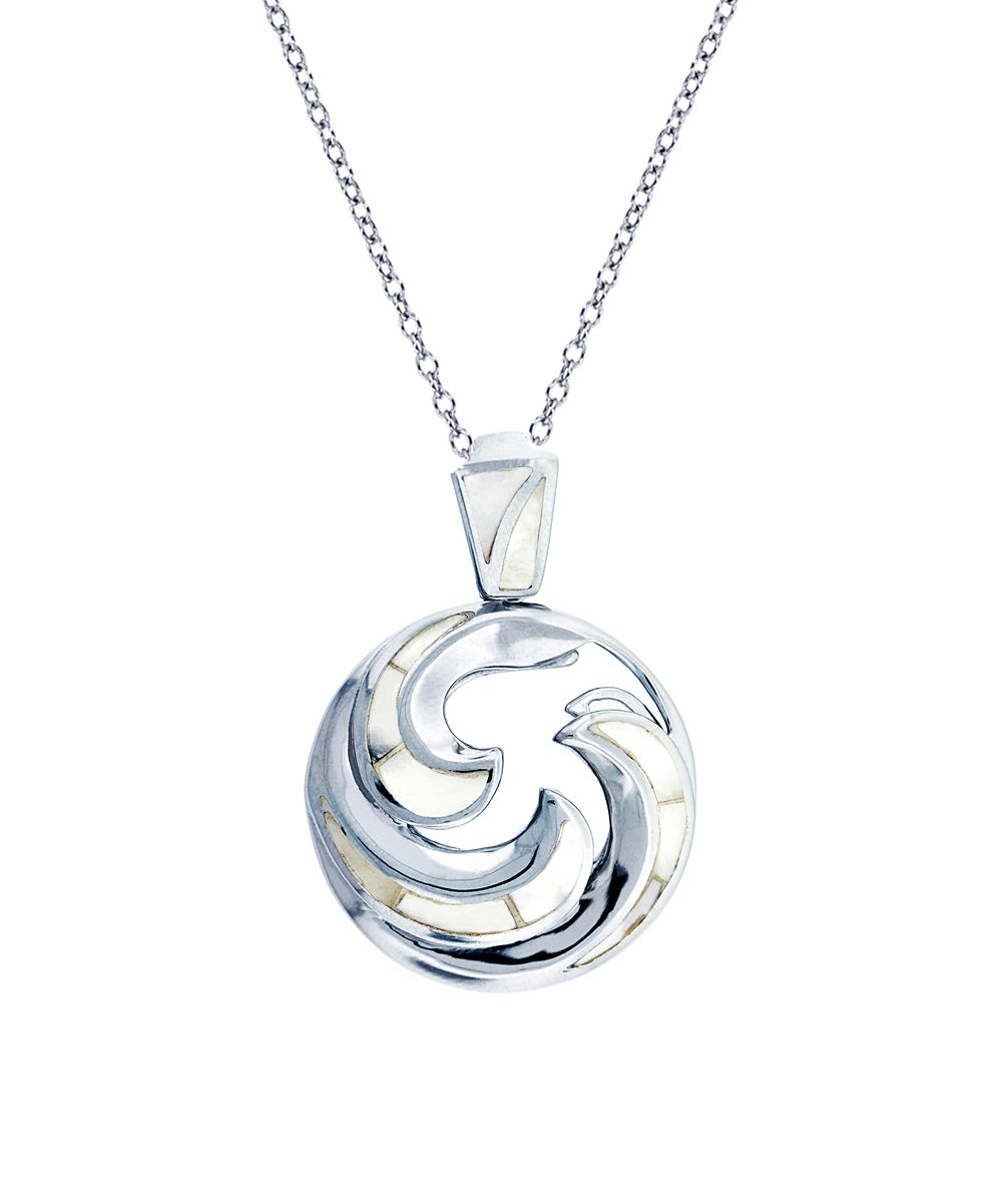 leaf pendant silver birds wave sterling ocean rhodium products sun and necklace plated