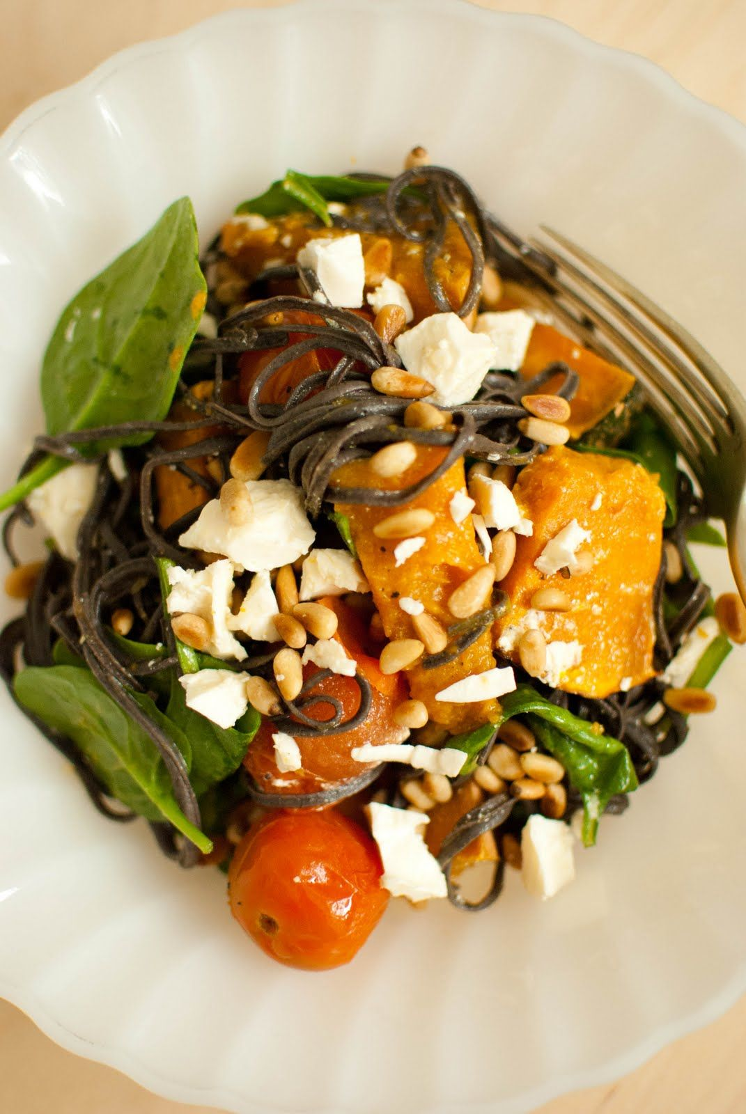 Black Bean Spaghetti with Roasted Pumpkin, Tomatoes, Spinach and Feta
