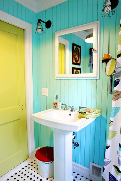 cute bathroom - love the idea of a painted bathroom with then a coordinating or contrasting color on the inside of the door... i want to do grey and white stripes in my bathroom downstairs so maybe a yellow door inside, maybe to match the yellow of that one small metal star I have?  start a color theme