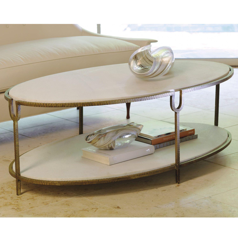 Global Views Iron Stone Oval Coffee Table Zinc Door