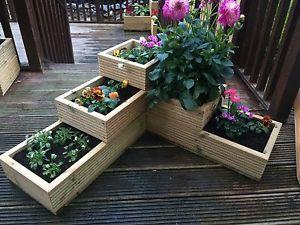 Wooden 3 Tier Corner Garden Decking Planter Fully Lined Mitred