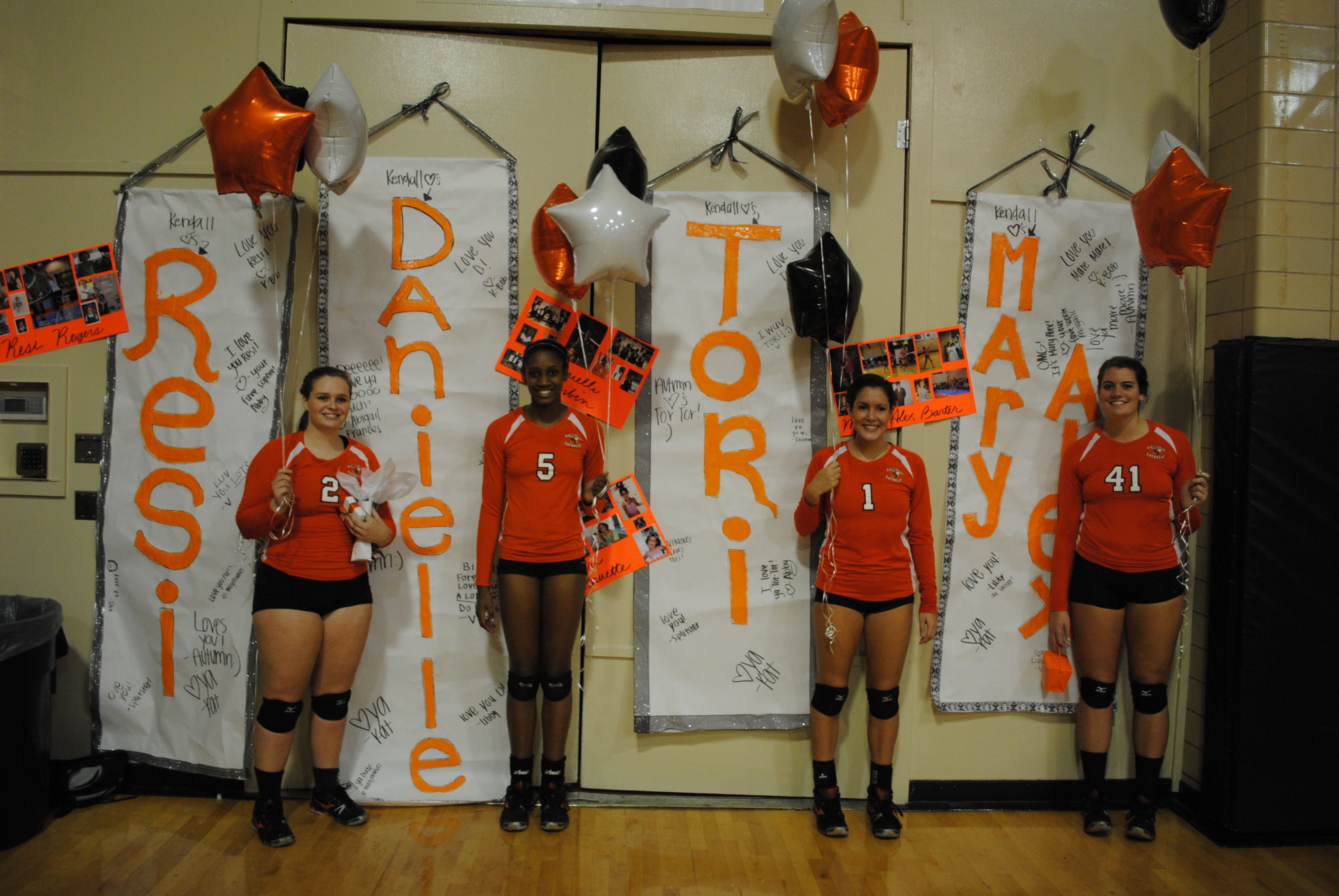 High school senior night ideas banners signed by