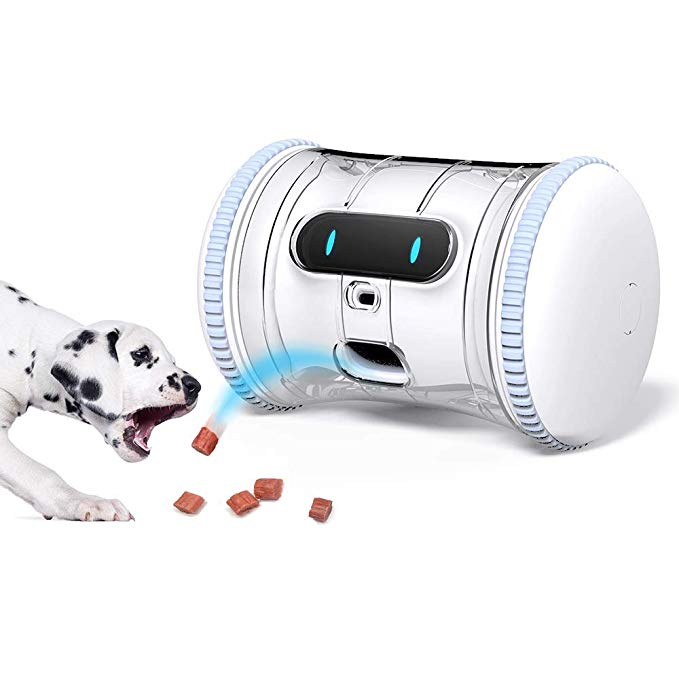 Varram Pet Fitness Robot Full Package Treat Tossing Schedule Automatic Drives Manual Play Via App Activi Interactive Dog Toys Stimulating Dog Toys Dog Toys
