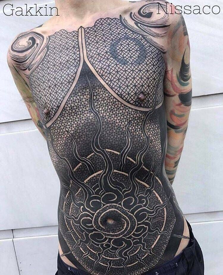 Torso Collaboration Piece Between Gakkin And Nissaco 3 Days In A Row Torso Tattoos Full Body Tattoo Tattoos