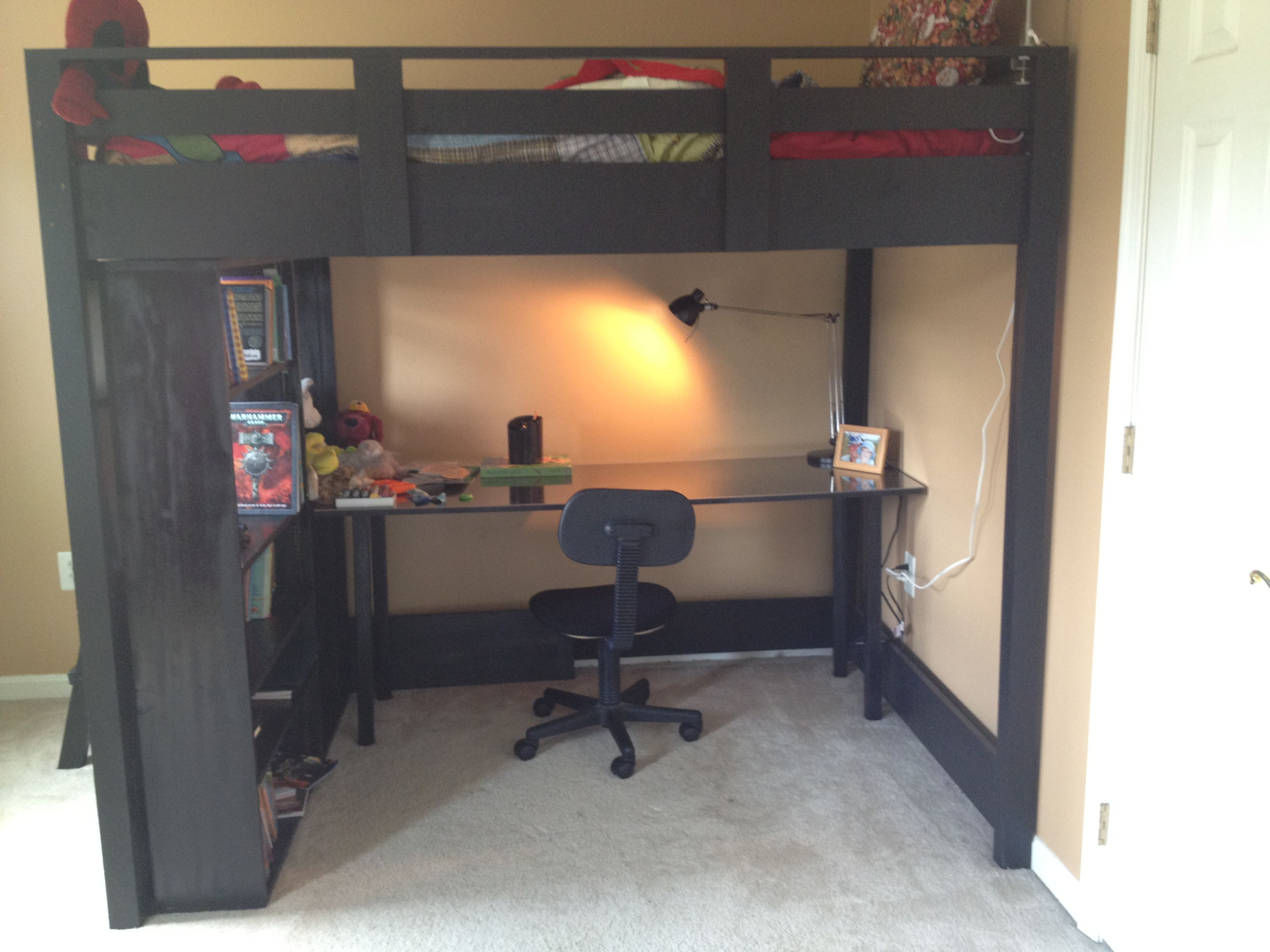 Loft bed with desk and stairs  Loft Bed Plans  Full Size Loft Bed  Do It Yourself Home Projects