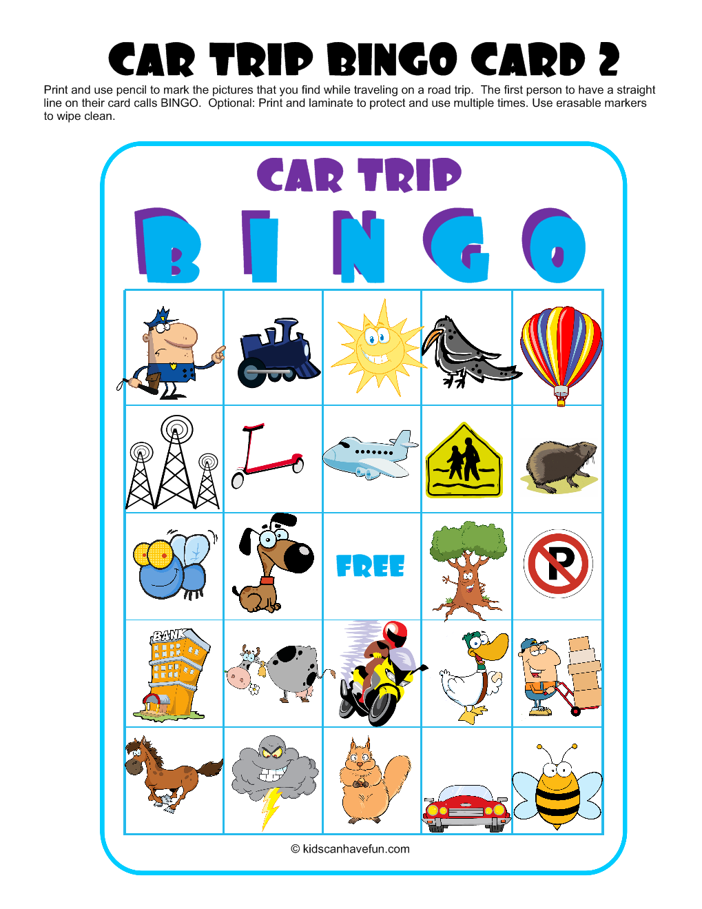 car travel bingo such an easy ways to keep kids occupied you could even
